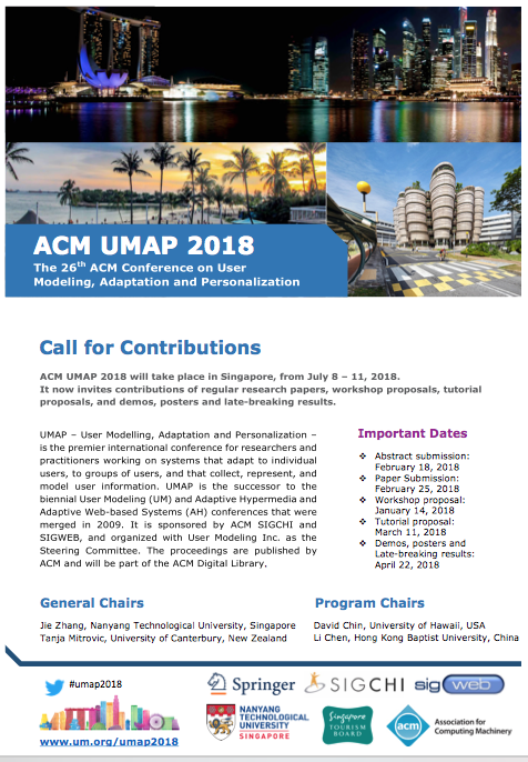 UMAP2018 - 26th Conference on User Modeling, Adaptation and